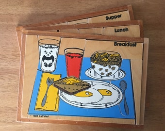 Rare Breakfast, Lunch and Supper Wood Puzzles