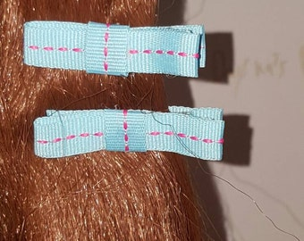 Pink Stiched Blues Hair Bows