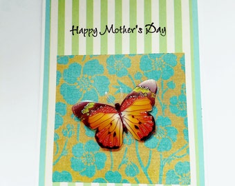 Handmade mother's day card, for mom, for her, flowers, butterfly, mother's day wishes,