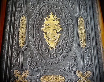 Antique Bible, Moroccan Leather Bound,The Rv. John Browns Self-interpreting Family Bible,1850's-1880's,Movie,Theatre Prop, OVNO