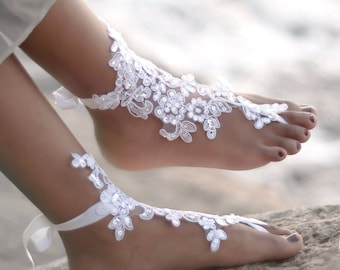 Lace Barefoot Sandals- Bridal Foot Jewelry- Beach Wedding Sandals- Barefoot Wedding Shoes- Lace Shoes- Footless Sandals- Boho Wedding Shoes