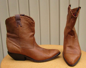 vintage 80s zodiac tan leather ankle boots 10M usa cowgirl line dancing boots free shipping