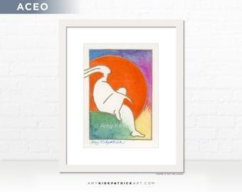 Harvest Moon Painting, Original ACEO Watercolor Painting, Dreamer Art, Miniature Figure Painting, ACEO ATC Original, Harvest Moon Dreamer