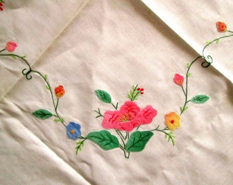 Appliqued & Hand Embroidered Small Tablecloth