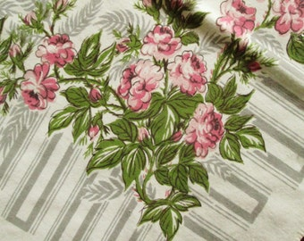 Vintage 1950s Floral Tablecloth, Pink Flowers