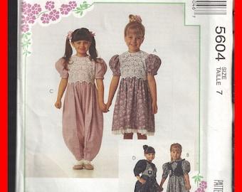 Girls Dress Jumpsuit Size 7 Alicyn Uncut McCall's 5604 Vintage Pattern Socks Trim