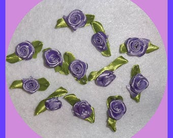 Purple Rose Miniature Small Set 12 Appliques Embellishments Satin Fabric Ribbon