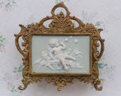 Rococo Letter Holder - Antique Mail rack - Brass and Porcelain Cherub - Wall Hanging
