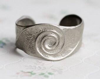 Spiral Cuff Bracelet - Dark Silver Pewter New Age Jewelry