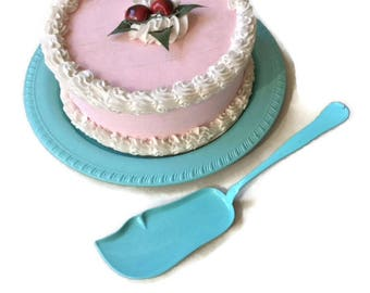 Turquoise cake server, Victorian Silver Plate Re-surfaced by BMC Vintage Design Studio FOOD SAFE