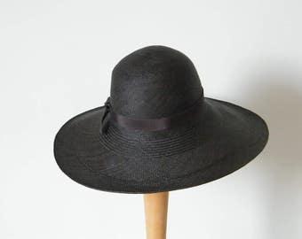 Long brim summer hat - Black Panama sun hat - elegant womens hat hat - large ladies' hat U.K
