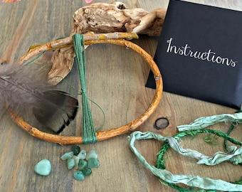 Dream Catcher Kit , aventurine stone nuggets , diy craft kit