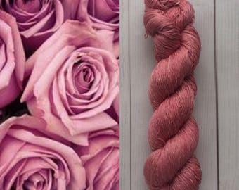 Mulberry silk 100%,handdyed yarn, hand painted. Mauve rose 100g.