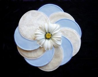 Nursing pads - BLUE POWDER - Organic Bamboo Velour and PUL - Ready to ship