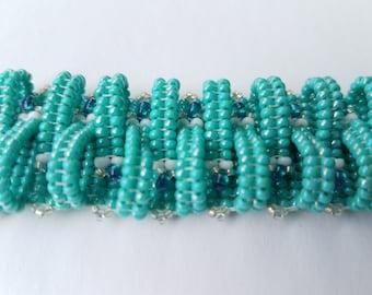 turquoise beaded bracelet, handmade bracelet, handmade jewelry, beaded jewelry, beaded bracelet, cuff bracelet, basket weave bracelet