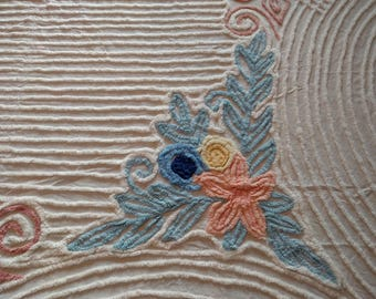 Vintage Chenille Bedspread, White with Blue, Pink, and Yellow Floral Accents