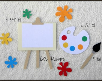 Die Cut Artist Easel & Paint Scrapbook Page Embellishments for Card Making Scrapbook or Paper Crafts