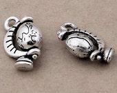 8pcs-3D Globe charm-Antique silver tone earth Charm