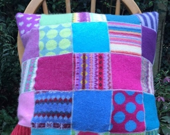 Recycled felted wool pillow cushion patchwork in shocking pink with cashmere