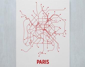 Paris Screen Print - Light Gray/Red