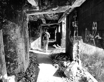 Walking Down Hallway Of Abandoned Building