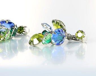 Open Back crystal Earrings, Peridot Sapphire Emerald Earrings, vintage jewelry