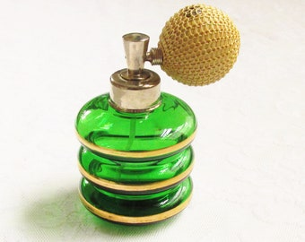 Vintage DeVilbiss Green Glass Gilt Perfume Atomizer signed 1940s  S Series Refillable