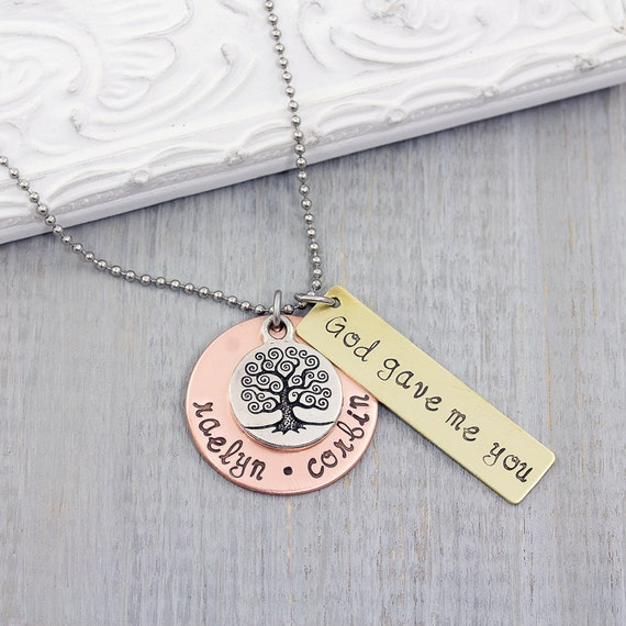Personalized Necklace - Hand Stamped Necklace - Personalized Family Tree Necklace - Tree of Life