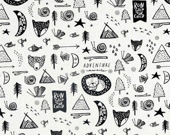 Baby Bedding, Adventure Nursery Bedding, Woodland Crib Sheets, Run Wild My Child, Black Gray White, Adventure Awaits Forest Dreaming