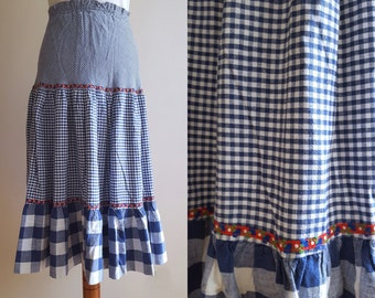 Vintage 1970's Checked Peasant Skirt Size S
