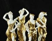 Vintage Società Anonima Ceramiche Zaccagnini Porcelain and Gilt Four Seasons Figurines