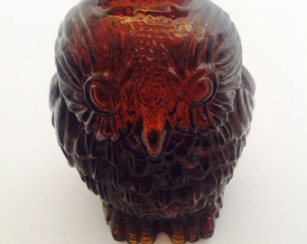 Wise Old Owl Amber Glass Bank, Vintage Owl Decor, Amber Glass Owl