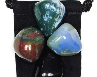 NEW BEGINNINGS Tumbled Crystal Healing Set - 4 Gemstones w/Description & Pouch - Blue Chalcedony, Bloodstone, Moss Agate, and Obsidian