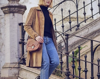 Vintage 70s Caramel Suede Fitted Jacket