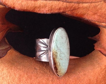 Handmade OOAK Sterling Silver Metalwork, Number 8 mine Baby Blue Turquoise, Southwestern, Boho Chic Ring US Ring Size 8