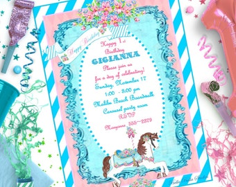 CAROUSEL HORSE INVITATION  - Personalized Printable Download