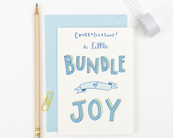 Bundle of Joy - new baby boy congratulations card