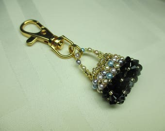 Crystal Purse Charm or Zipper Pull in Black