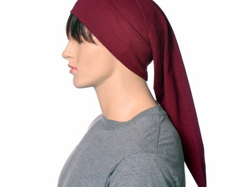 Cotton Nightcap Burgundy Night Cap Lightweight Elf Hat Maroon Poor Poet Hat