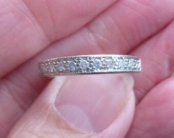 Pave set diamond band....wedding band.....engagment ring...stacker band....25 points