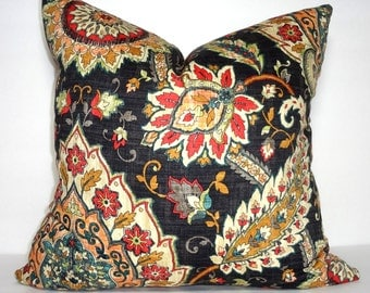 Mill Creek Cliffside Black Red Gold Floral Pillow Cover Decorative Pillow Cover Size 18x18