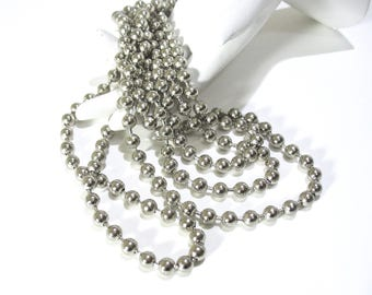"Vintage Silver Metal Bead Necklaces, Two Strings, 35"", Long Beaded Necklace, 1980's, Wear one Keep one, Gift Idea, Excellent"