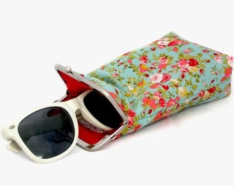 Sunglasses Case - wide single glasses case - Mint Green with Red Flowers 100% cotton  - Silver Frame