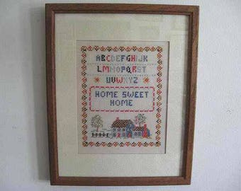 """Vintage Framed Home Sweet Home Cross Stitch Sampler; Homespun, Old Fashioned, Country Cottage Decor, Farmhouse Decor; beige linen, 12"""" x 15"""""""