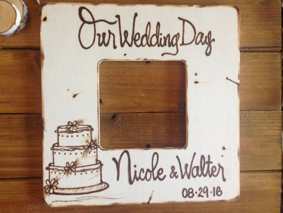 Custom Wedding Gift Rustic Chic Picture Frame Personalized Engraved Cake Perfect Shabby Chic Engagement or Bridal Shower Gift