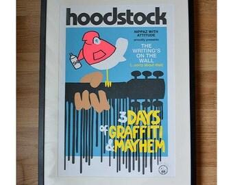 Hoodstock - Woodstock Music Festival tribute poster, street art / pop art inspired graphic art print - Limited Edition & signed - Blue