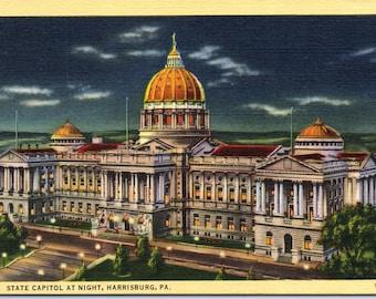 Harrisburg, Pennsylvania, State Capitol - Linen Postcard - Postcard - Unused (II)