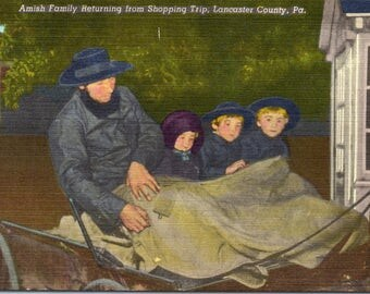 Lancaster County, Pennsylvania, Amish Family - Vintage Postcard - Postcard - Unused (O)
