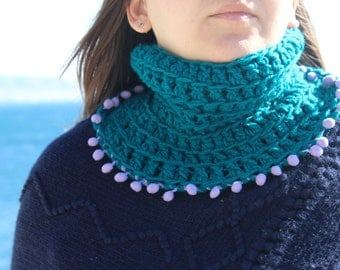 Teal crochet cowl, teal neck warmer, pom pom scarf, teal crochet scarf, green blue neckwarmer, winter scarf, womens accessory, womens scarf