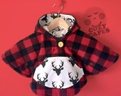 SMALL Mini Fleece Cape Poncho (Lumberjack Plaid) || Baby Toddler || Car Seat Coat